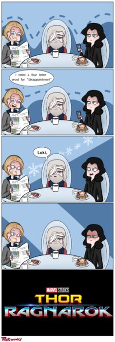 Aawwh that's not okay! I love how Loki has the pancakes and Thor has bacon eggs