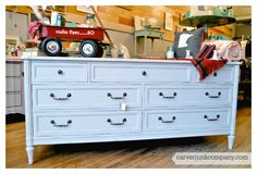 Vintage Repainted White Dresser   $499   Hardware Update   Lacquer Spray Finish   Painted Furniture   Carver Junk Company
