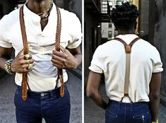 VINTAGE BRAIDED WOVEN SUSPENDERS // men's fashion blog