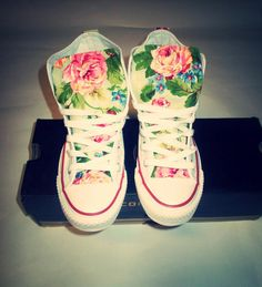 Spring Floral Converse Shoes by ChaoticMayhem on Etsy, $90.00