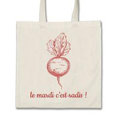 Tote Bag - Sac Shopping Radis Coton Biologique 330 gr Ecru Tissé et imprimé a l'encre Écologique en France Certifié Oeko tex