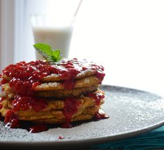 Vegan Oatmeal Corncakes with Raspberry Sauce | May I Have That Recipe