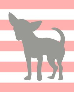 Pink and gray chihuahua art, with stripes, also available in other colors. great pet lover gift!  via PaperPlanePrints.etsy.com