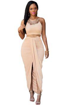 d6040893366997 Khaki Faux Suede Two Piece Maxi Skirt Set