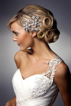 Beautiful dress accent shoulder and elegant hair.