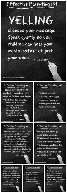 """""""Yelling silences your message..."""" Effective Parenting 101 has lots of ideas to stop the yelling cycle you might find yourself in. #parenting #positiveparenting"""