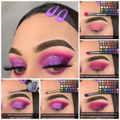 Purple Eye Makeup, Makeup Eye Looks, Eye Makeup Steps, Colorful Eye Makeup, Eye Makeup Art, Beauty Makeup Tips, Punk Makeup, Makeup Morphe, Makeup Pictorial