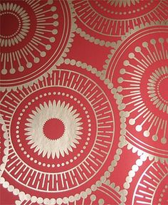 Circles - Graham & Brown Serenity Wallpaper gold-on-red Oriental starry design pattern .
