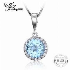 [ 44% OFF ] Jewelrypalace 2.7Ct Natural Sky Blue White Topaz Halo Solitaire Pendant 925 Sterling Silver Jewelry For Girl Not Include A Chain