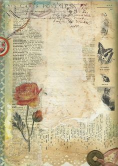 carta postal rosa mariposa carta letras ink, tissues, paint, vintage French dictionary page Papel Vintage, Vintage Ephemera, Vintage Paper, Vintage Art, Journal Vintage, Scrapbook Paper, Scrapbooking, Paper Art, Paper Crafts