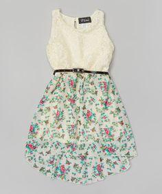 Ivory & Mint Floral Chiffon Belted Hi-Low Dress - Girls