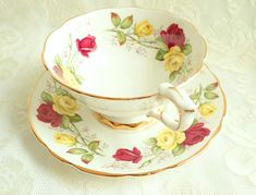 Vintage Royal Stafford China SUMMER DAY Breakfast Teacup & Saucer Wide Mouth Fancy