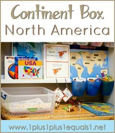 North America Continent Box ~ ideas, printables, resources, and more! From 1+1+1=1