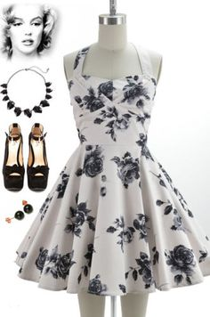 50s-Style-OFF-WHITE-Floral-TRAVELING-CUPCAKE-TRUCK-Dress-with-HALTER-Petal-Bust