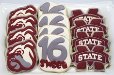 Mississippi State and Bully Bulldog Cookies Decorated Sugar Cookies Sweet 16 Birthday Party Thank You Cookies, Cute Cookies, Sugar Cookies, Tailgate Food, Tailgating, Sweet 16 Birthday, Birthday Ideas, Cracker Candy, Cookie Frosting