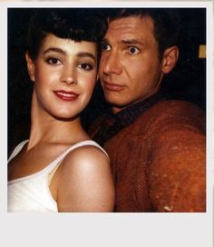 Mary Sean Young and Harrison Ford on the Blade Runner set.  My jaw dropped to the floor when I saw her. What a beauty! Lucky Harry.