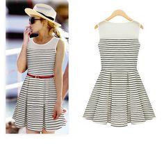 Womens Summer Sleeveless White Dresses Evening Party Short Mini Beach Dress #Unbranded #Sundress #SummerBeach