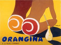 Women on Beach Vintage Orangina soda ad Poster by Vintagemasters