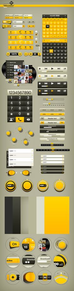 Beautiful Yellow UI Design Elements