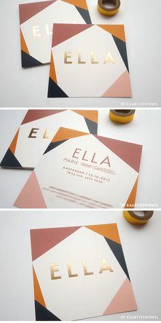 Geboortekaartje print en goudfolie Ella birth announcement-print-and-gold foil-ella Gala Invitation, Invitation Design, Invite, Web Design, Print Design, Packaging Design, Branding Design, Corporate Branding, Packaging