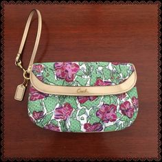 """COACH Beautiful Clutch/Wristlet In excellent condition. Has eight card slots and one slide pocket. Approximately measures  6""""H x 9""""Width. iPhone 6 Plus will fit and more! Coach Bags Clutches & Wristlets"""