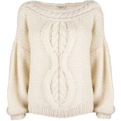 Mes Demoiselles Tess Cream Cropped Sweater (25.475 RUB) ❤ liked on Polyvore featuring tops, sweaters, shirts, jumpers, cream cable knit sweater, oversize sweater, chunky cable knit sweater, pink oversized sweater and pink crop top