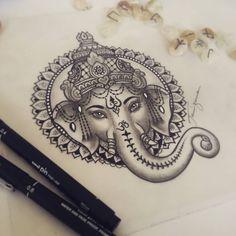 Ganesha da Ale Sucesso, proteção. #ganeshatattoo #drawing #tattoodesign #taizane #Ganesh
