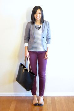 (summer/fall/work) gray blazer, black statement necklace, black and white striped shirt, wine-colored pants, two-toned flats