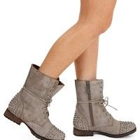 Sale-taupe Lace Up Studded Combat Boots