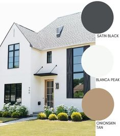 Modern Farmhouse Style Exterior Paint Colors - - Paint your home's exterior with confidance with these modern farmhouse exterior paint color combinations. Perfect for new build construction or renovations! White Exterior Paint, White Exterior Houses, Exterior Paint Colors For House, Outside House Paint Colors, Exterior Color Schemes, Farmhouse Architecture, Modern Farmhouse Exterior, Modern Farmhouse Style, Architecture Design