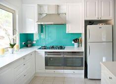 Back Painted Glass Backsplash - DIY Trial Run - Addicted 2 Decorating® Kitchen Cabinets Decor, Farmhouse Kitchen Cabinets, Kitchen Interior, Kitchen Soffit, Hickory Kitchen, Kitchen Flooring, Glass Kitchen, Kitchen Paint, Green Kitchen
