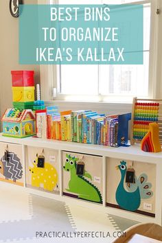 hat a wonderful storage unit made by using some adorable toy storage boxes by 🎁 I love the idea of kids being able to reach out Playroom Organization, Playroom Ideas, Ikea Playroom, Baby Playroom, Ikea Kallax Nursery, Ikea Kallax Boxes, Ikea Bins, Kids Playroom Storage, Childrens Bedroom Storage