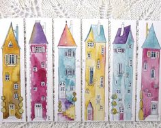 Book marks 6 colourful Illustrations of tall houses, colourful prints from original art - - Book marks 6 colourful Illustrations of tall houses, colourful prints from original art Дома Lesezeichen 6 bunte Illustrationen von hohen от Shelikesthis Halloween Illustration, Fun Illustration, Watercolor Illustration, Illustrations, Watercolor Bookmarks, Watercolor And Ink, Watercolor Paintings, Watercolors, Simple Watercolor