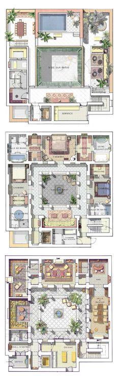"""""""riad"""" """"floor plan"""" home interior garden Sims 4 House Plans, Dream House Plans, Small House Plans, House Floor Plans, The Sims, Sims 4 House Design, Casa Patio, Courtyard House Plans, House Blueprints"""