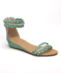 Look at this #zulilyfind! Sea Green Braided Felice Wedge Sandal by Bonnibel #zulilyfinds