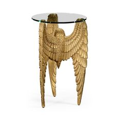 Limited Production Design & Stock: Elegant Antique Gold Wing Side Table * Intricate Hand Carving * 26 x 18 x 18 inches* Partner Wall Mirror, Side Table & Table Lamp Available Wood Angel Wings, Angel Wings Wall Decor, Fine Furniture, Luxury Furniture, Furniture Design, Unusual Furniture, Antique End Tables, Wing Wall, Versailles