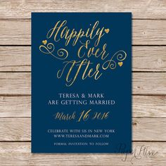 Happily Ever After Save The Date Card / gold foil by paperhive
