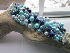Blue, aqua  silver beaded, knitted bracelet £11.50