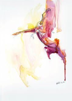 """Saatchi Online Artist: Benedicte Gele; Watercolor 2013 Painting """"Equine Nude 55 """""""