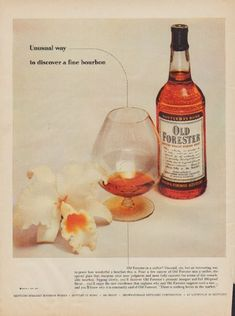 "1955 OLD FORESTER vintage print advertisement ""Unusual way"" ~ Unusual way to discover a fine bourbon ... Old Forester in a snifter? Kentucky Straight Bourbon Whisky. ~"