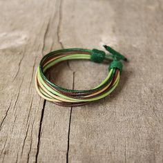 Colorful multi string mens bracelet Multistrand by Naryajewelry