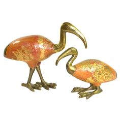 Vintage Sarreid Ltd. Ibis Birds in Wood & Brass: Rustic, shabby, chippy nautical home decor, handcrafted in Italy. Available from OneRustyNail on Etsy. ► http://www.etsy.com/shop/OneRustyNail