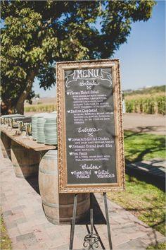 chalkboard wedding menu at reception #weddingreception #weddingmenu #weddingchicks http://www.weddingchicks.com/2014/02/12/california-ranch-wedding/