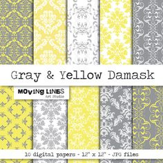 Gray and Yellow Damask Digital Papers 10 craft by MovingLines, $3.90