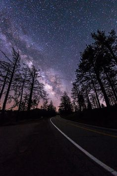 The Milky Way above Sunrise Highway in Mount Laguna. San Diego, California