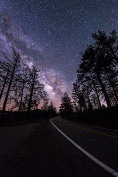 The Milky Way above Sunrise Highway in Mount Laguna. San Diego, California