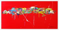 """""""Here is elsewhere""""...acrylic on stretched canvas..36""""X 72""""...©Mac Worthington, artist, 2015"""