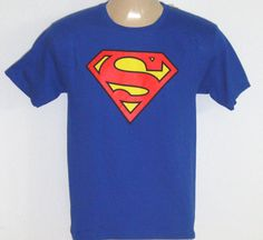 NEW $18 TAG Youth Kid XL Shirt SUPERMAN Blue Official DC Comics GLOW IN THE DARK #SupermanOfficialbyDCComics #Everyday