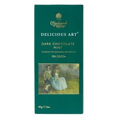 £3.99 - Charbonnel et Walker Dark Chocolate with Mint. This dark chocolate with a hint of mint makes the perfect luxury chocolate gift.  The packaging features a details from Mr and Mrs Andrews by Thomas Gainsborough.