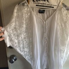 White lace button down shirt!! Very comfortable lace blouse!! Angie Tops Button Down Shirts